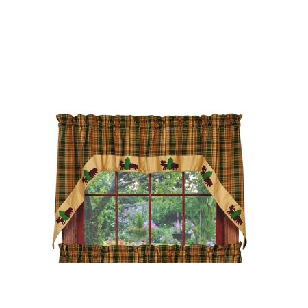 Woods Bear and Moose Swag Set Window Curtains Pair - 72x36 total - 2 inch rod -