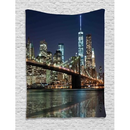 New York Tapestry, United States Urban Life Themed Skyscrapers with Brooklyn Bridge Illustration, Wall Hanging for Bedroom Living Room Dorm Decor, Multicolor, by Ambesonne](Good Room Brooklyn Halloween)