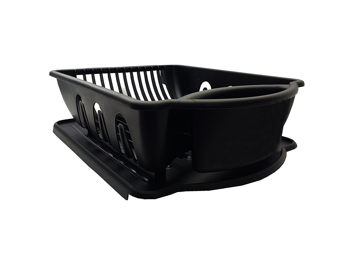Black Sterilite Two Piece Sink Set Dish Rack Drainer Kitchen Perimeter Cup Holder Flatware by Unique Imports