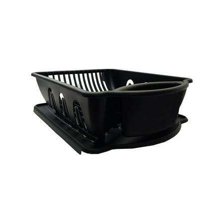 Black Sterilite Two Piece Sink Set Dish Rack Drainer