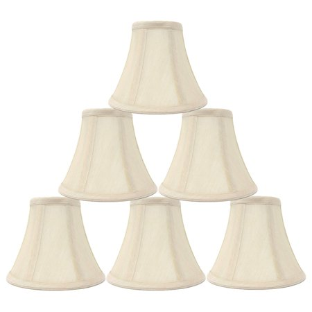 "Chandelier Lamp Shades, Set of 6, Soft Bell 3""x 6""x 5"" Cream , Clip on, NEW"