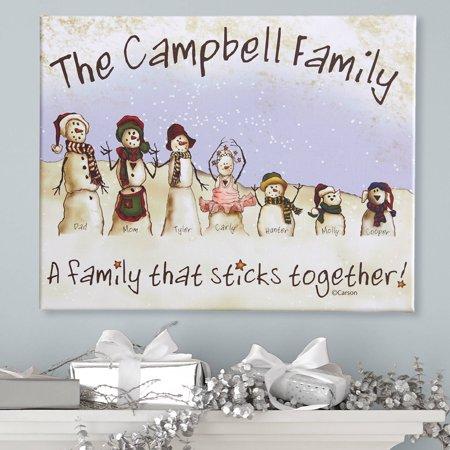 Personalized Family Portrait (Personalized Snowmen Stick Family Canvas )