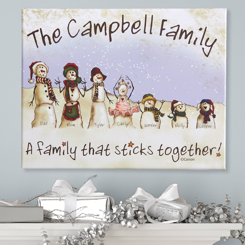 Personalized Snowmen Stick Family Canvas