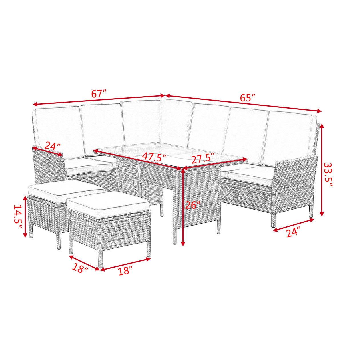 Goplus 5PCS Patio Wicker Rattan Furniture Set Sofa Ottoman Garden Deck W Brown Cushion by Goplus
