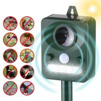 Solar Pest Repeller Outdoor Animal Repeller with Sound Motion Sensor and Flashing Light Keep Animals Away Repellent Squirrels Mouse Bird Cat Dog Bat