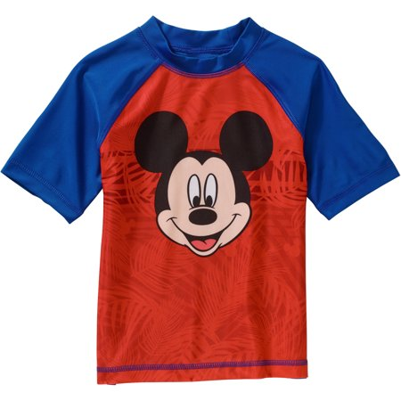Mickey Mouse Toddler Boy Short Sleeve Swimwear Rashguard Top