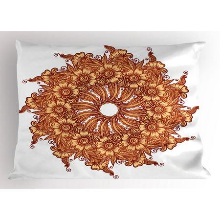 Henna Pillow Sham Eastern Civilization Inspired Floral Tattoo Design Mehndi Motif Illustration, Decorative Standard Size Printed Pillowcase, 26 X 20 Inches, Mustard Dark Orange, by (Henna Mehndi Tattoo)