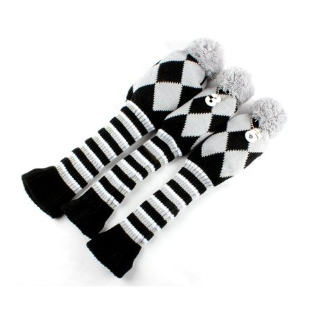 Knit Golf Club Covers - Golf Club Knit Head Cover 3pcs Headcover Set Vintange Pom Pom Sock Covers 1-3-5 grey&black