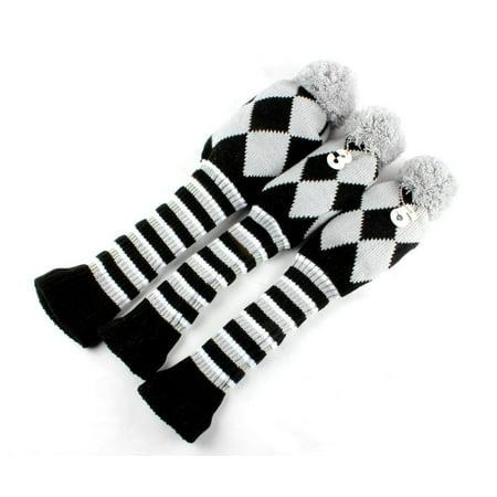 Golf Club Knit Head Cover 3pcs Headcover Set Vintange Pom Pom Sock Covers 1-3-5 grey&black