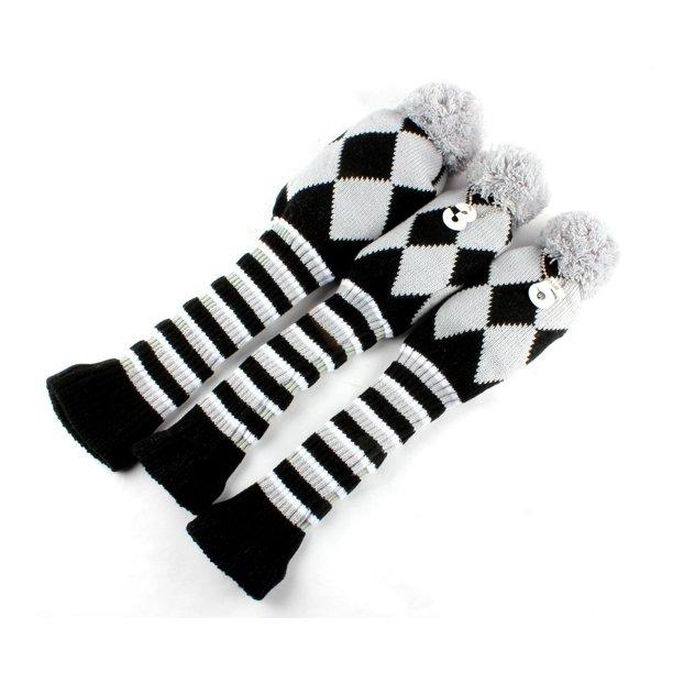 Golf Club Knit Head Cover 3pcs Headcover Set Vintange Pom Pom Sock Covers 1 3 5 Grey Black Walmart Com Walmart Com