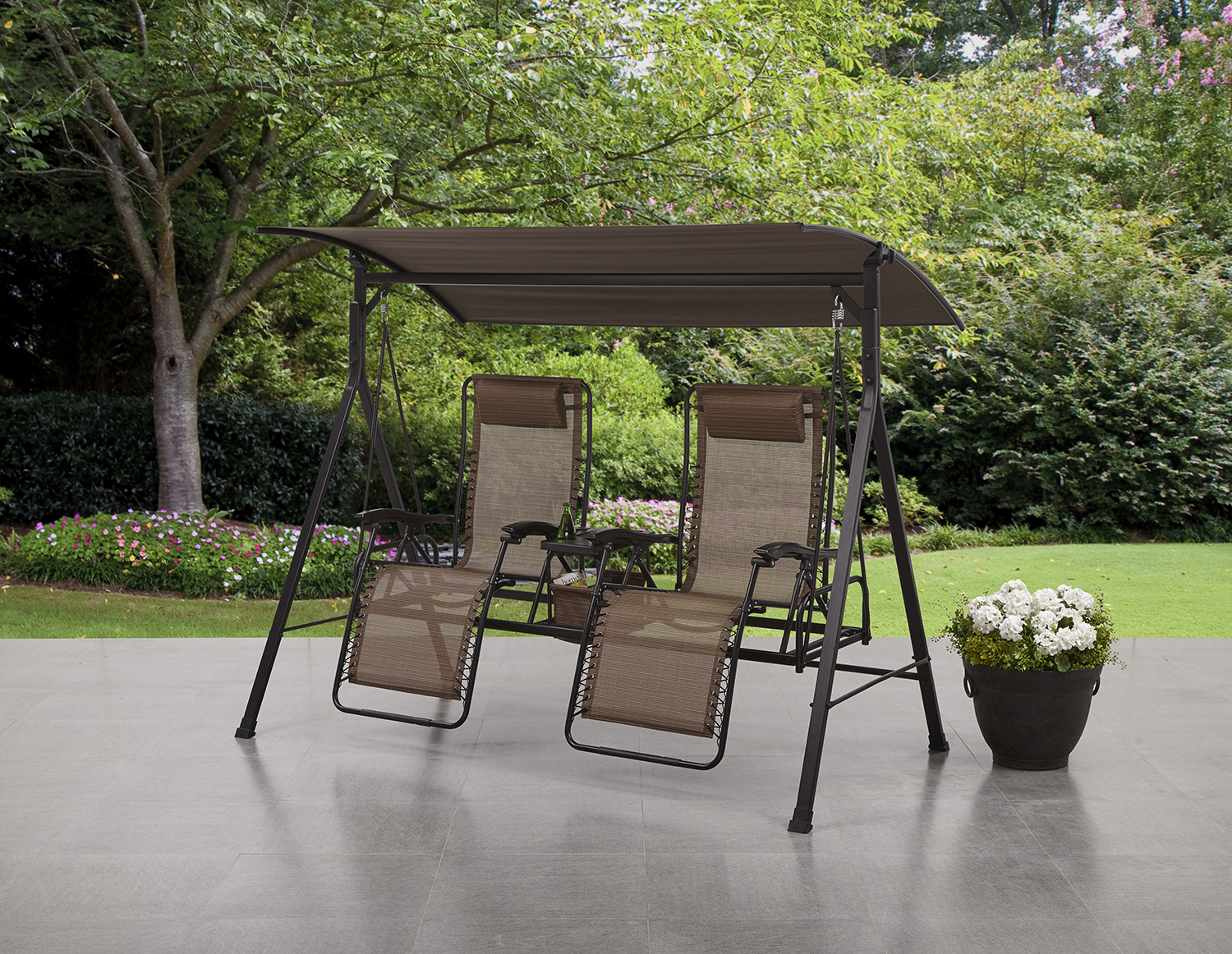 Mainstays Big And Tall Zero Gravity Outdoor Reclining Porch Swing