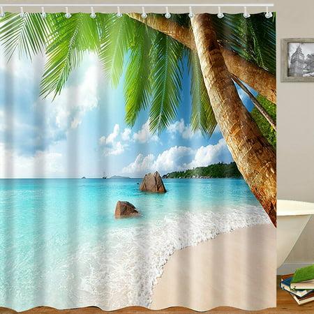 Tropical Beach Palm Trees Waterproof Bathroom Shower Curtain Art Decor 71 X 71 Inch - image 5 de 11