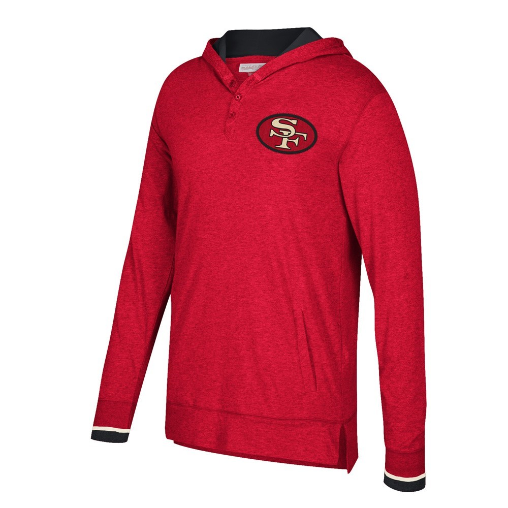 """San Francisco 49Ers NFL Mitchell & Ness Red """"Seal the Win"""" Longsleeve Hooded Retro T-Shirt For Men"""