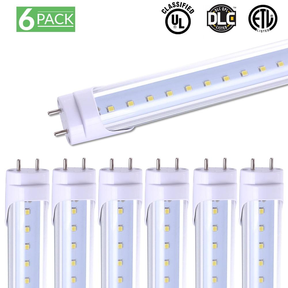 Sunco Lighting 6 Pack 4FT 48 Inch T8 Tube LED Light Bulbs 18 Watt (40 Equivalent) Clear 5000K Kelvin Daylight 2000LM, Bright White Light, Single Sided Connection Bypass Ballast - ETL & DLC LISTED