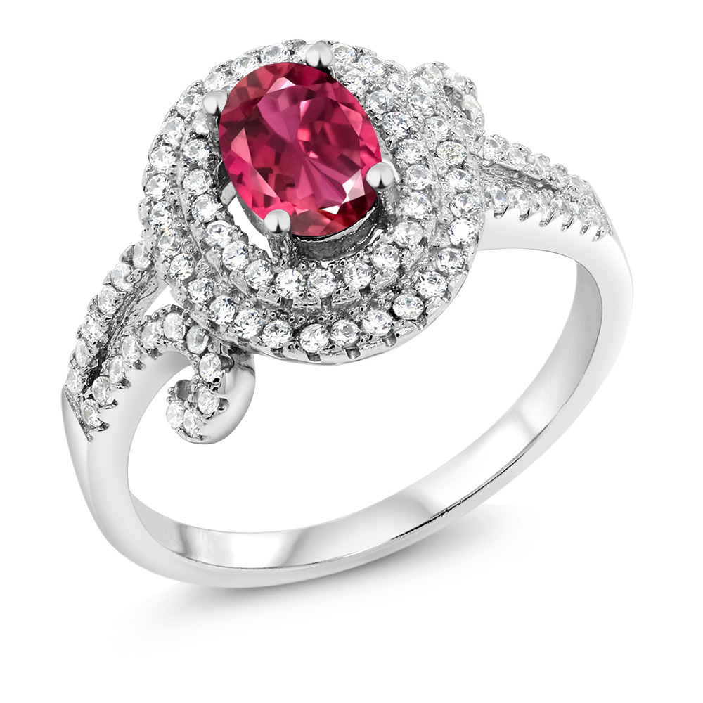 2.10 Ct Oval Pink Tourmaline 925 Sterling Silver Ring by