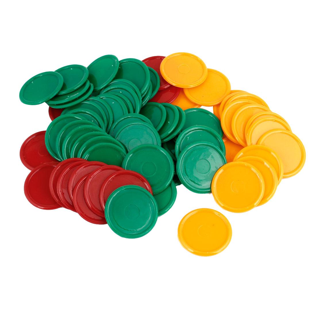 Unique Bargains Plastic Poker Chips Set Round Shape Green Yellow Red 68 Pcs