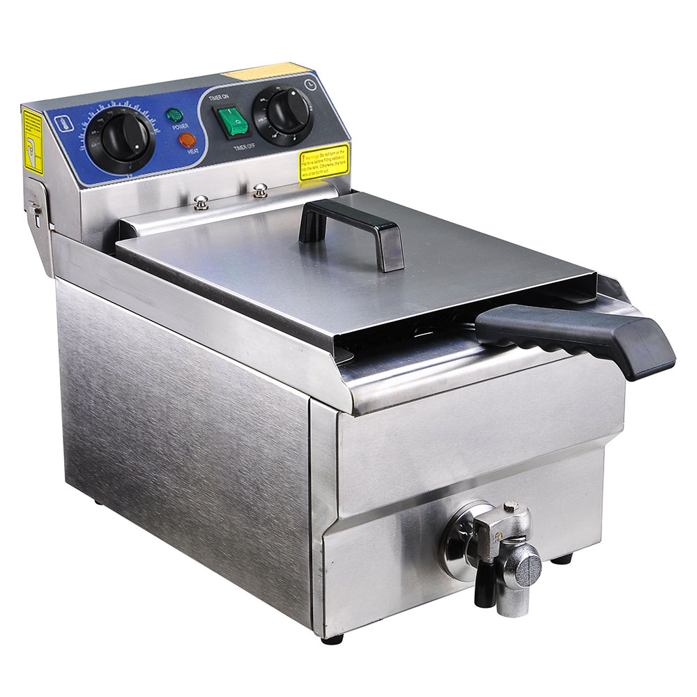 10l Pro Deep Fryer Stainless Steel Commercial Timer And Drain French Fry Restaurant Kitchen