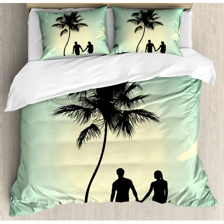 Romantic Duvet Cover Set, Married Couple walking on the Beach with Tropical Fauna and Flora, Decorative Bedding Set with Pillow Shams, Pale Green Seafoam Black, by Ambesonne