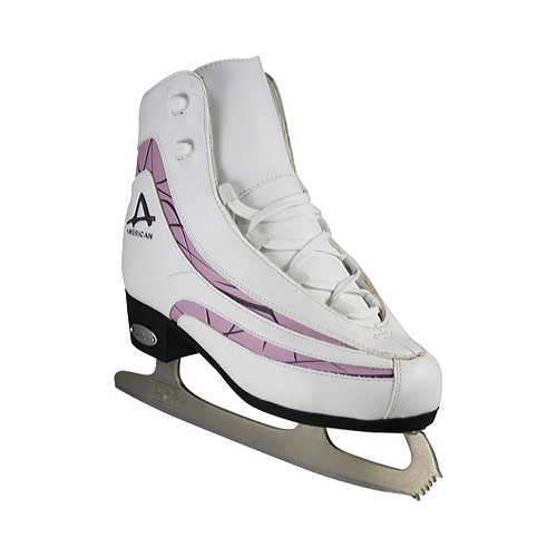 American Athletic Women's Soft Boot Ice Skates with Plum Trim