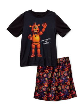 Five Nights at Freddy's Boys 'FNAF Freddy, Chica, Foxy, Bonnie Mic Night' Costume Pajama Short Set