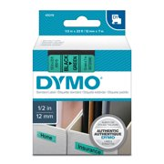 "DYMO D1 STANDARD LABELS BLACK/GREEN 1/2"" x 23'"