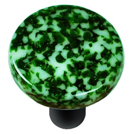 Granite Light Post - Hot Knobs HK8053-KRB Granite Light Metallic Green & White Round Glass Cabinet Knob - Black Post