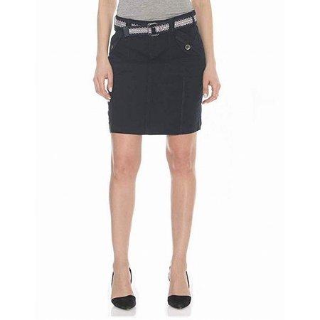 - Womens Poplin Cargo Belted Stretch Skirt 4