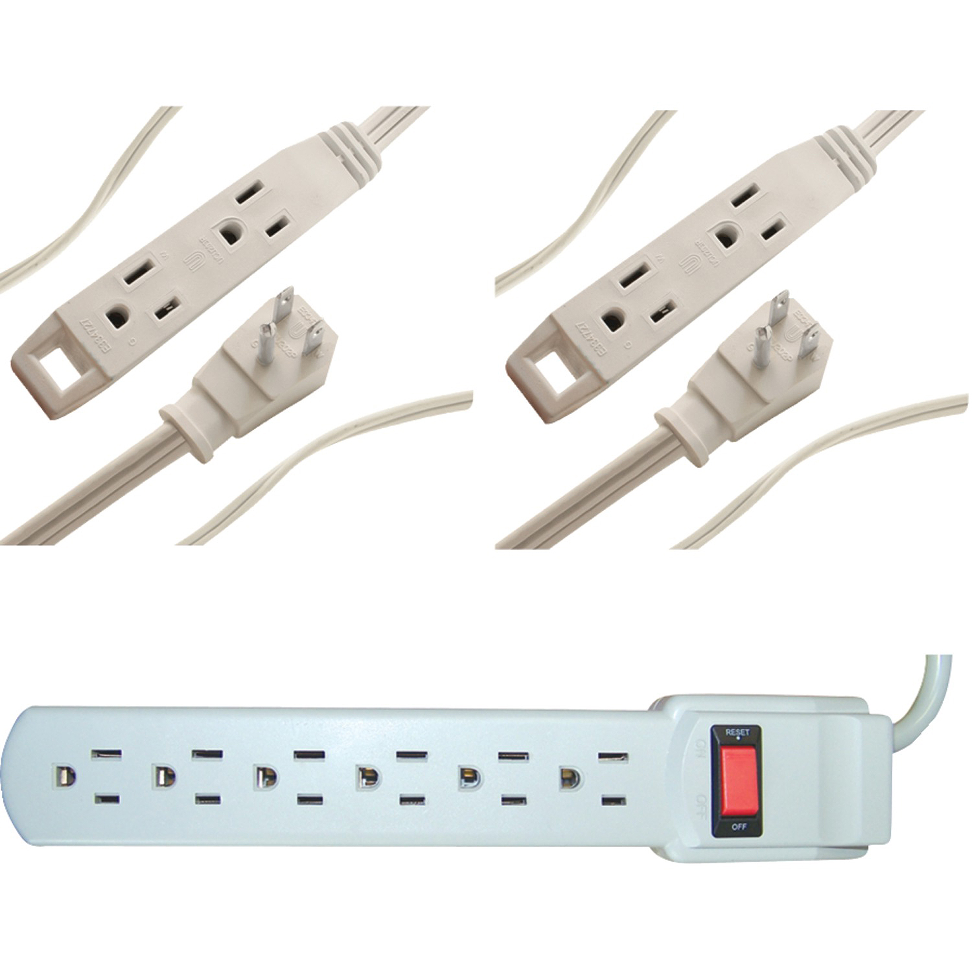 Axis Surge Protector and Extension Cord Bundle, White