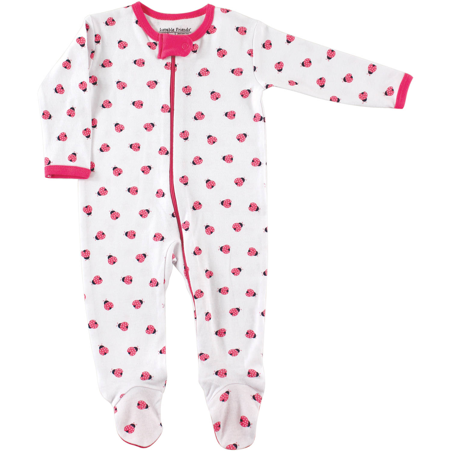 Luvable Friends Newborn Baby Girls Zipper Sleep N Play - Ladybug
