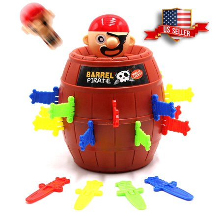 Lucky Game Barrel Pirate Game for Kids and Adults Funny Tricky Swords Party Toys with punishment turntable (Games For A Halloween Party For Adults)