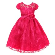 Big Girls Fuchsia Flower Sash Lace Overlay Special Occasion Dress 14