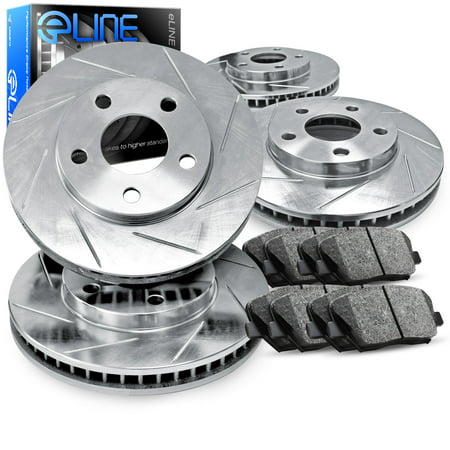 2003 2004 2005 Mazda 6 Full Kit eLine Slotted Brake Disc Rotors & Ceramic Brake Pads