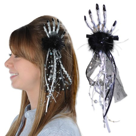 Club Pack of 12 Halloween Silver and Black Skeleton Hand Hair Clips - Halloween Skeleton Hair