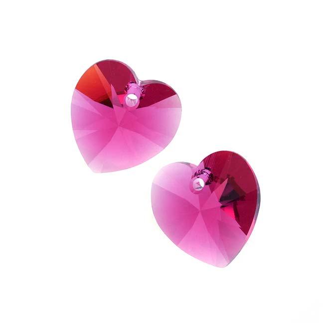 Swarovski Crystal, #6228 Heart Pendants 14mm, 2 Pieces, Fuchsia