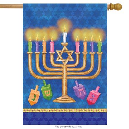 Happy Hanukkah House Flag Holiday Menorah 28  x 40  Briarwood Lane Happy Hanukkah House Flag Holiday Menorah 28  x 40  Briarwood Lane condition: New Brand: Briarwood LaneMPN: H00665Material: PolyesterSize: 28  x 40