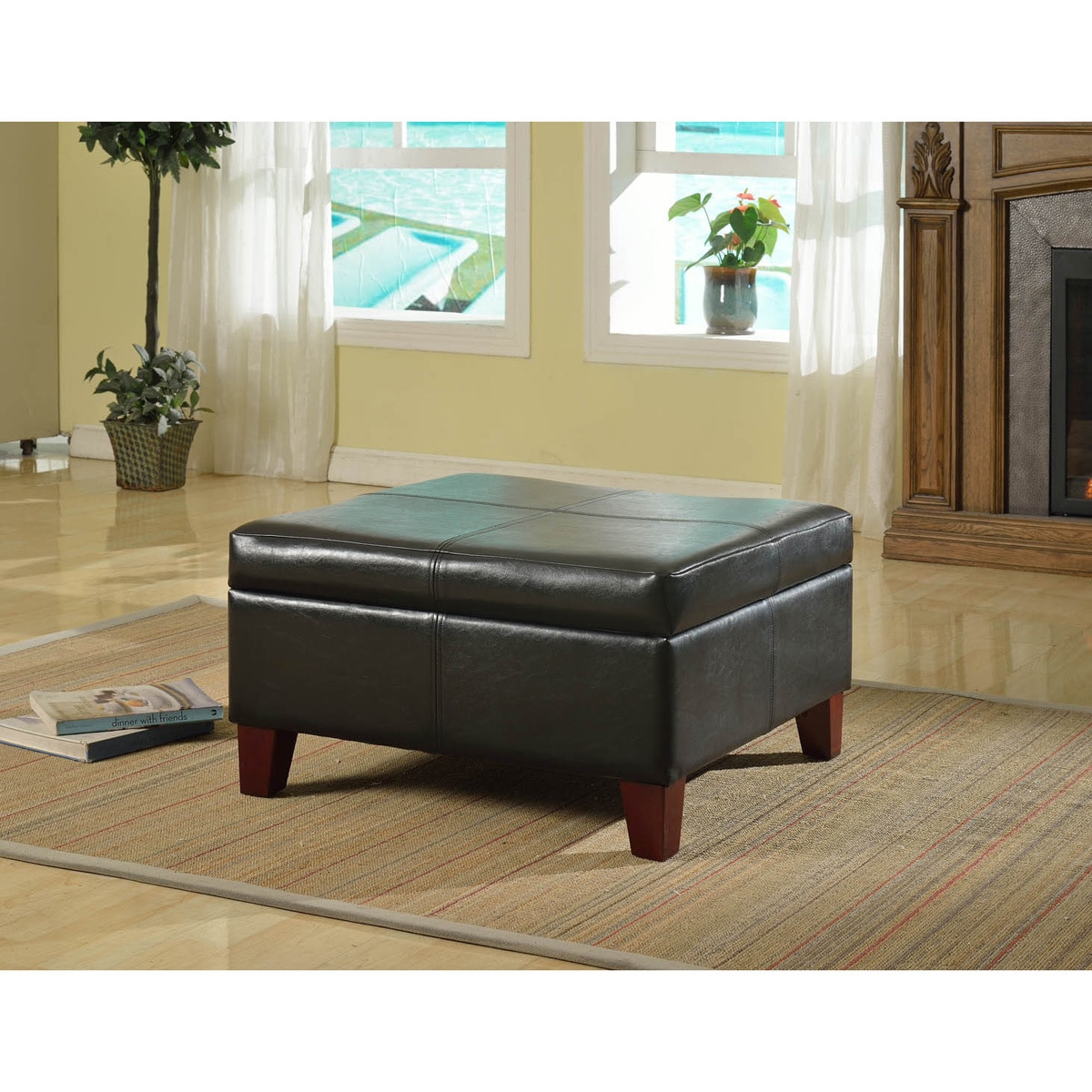 HomePop Luxury Large Black Faux Leather Storage Ottoman Table Family Room