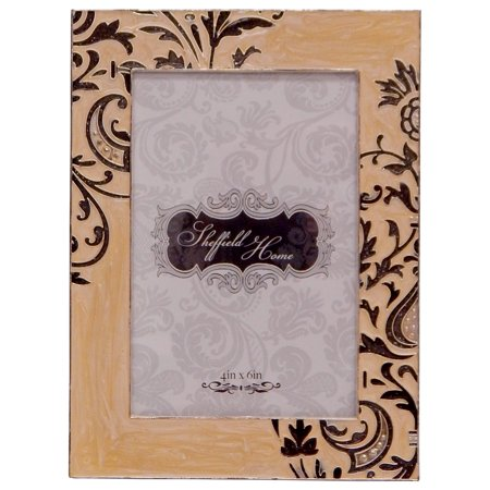 - Sheffield Home Cream/Black Enamel Jeweled 4x6 Photo Picture Frame