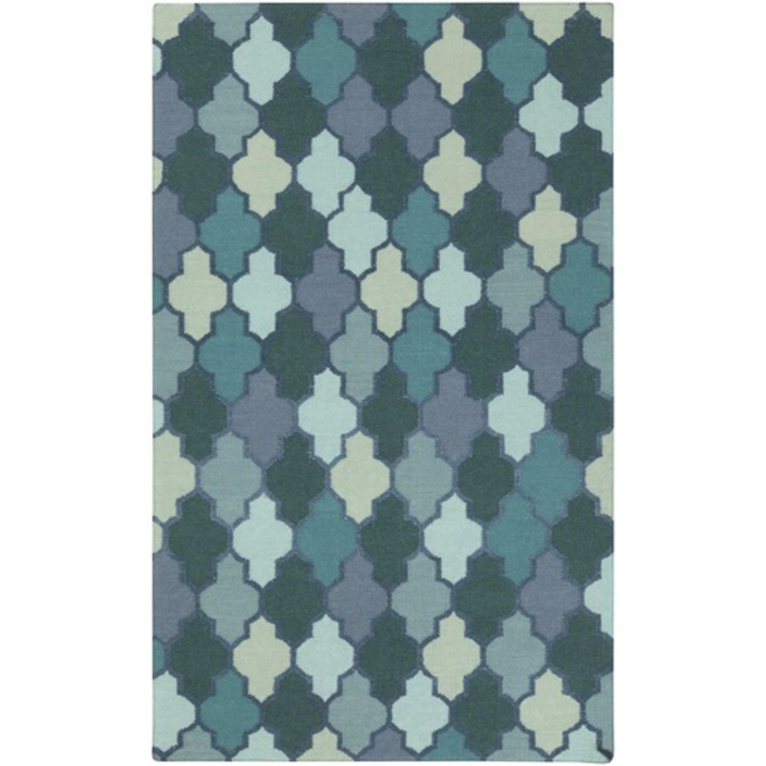 2' x 3' Moroccan Meditation Teal Blue and Turquoise Green Hand Woven Area Throw Rug