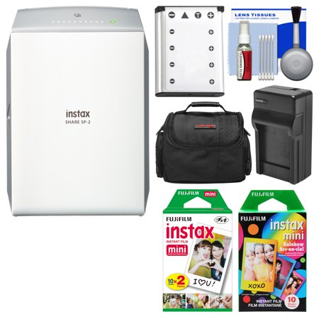 Fujifilm Instax Share Sp 2 Instant Film Wi Fi Smartphone Printer  Silver  With 20 Color Prints   10 Rainbow Prints   Case   Battery   Charger   Kit