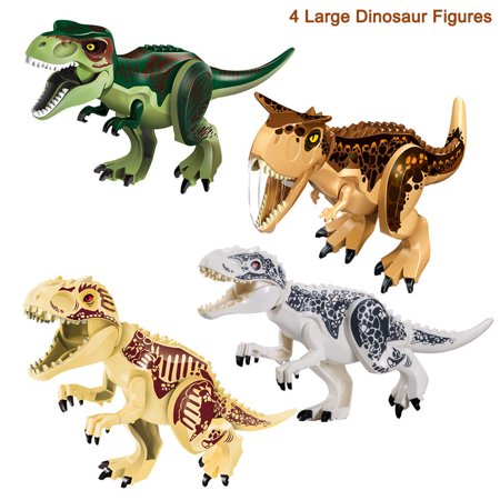 4Pcs Dinosaur Building Blocks Assembling Toys Kids' Large Rubber Figures Toys for Christmas birthday Gifts