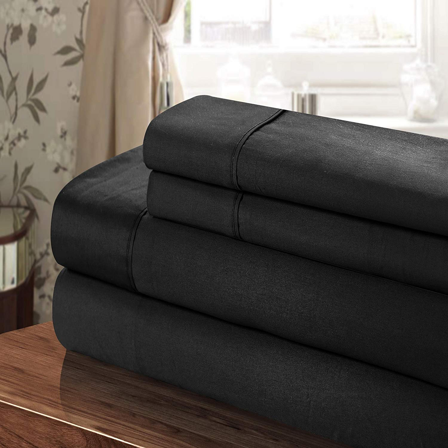 Sheet Set, King, Black, 100% Egyptian Cotton 300 Tc By Chic Home