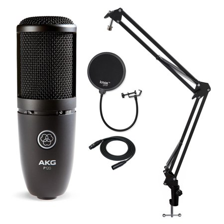 AKG P120 High Performance Recording Microphone with Pop Filter and Boom -