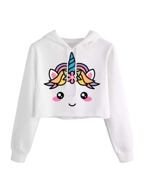 Girls Unicorn Hooded Crop Tops Jackets Kids Cute Plaid Sweatshirts Fall Clothes