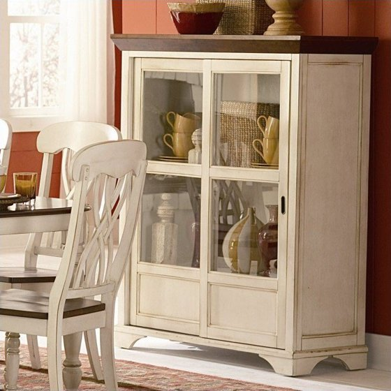 Trent Home Ohana Curio Cabinet in Antique White and Warm Cherry - Trent Home Ohana Curio Cabinet In Antique White And Warm Cherry