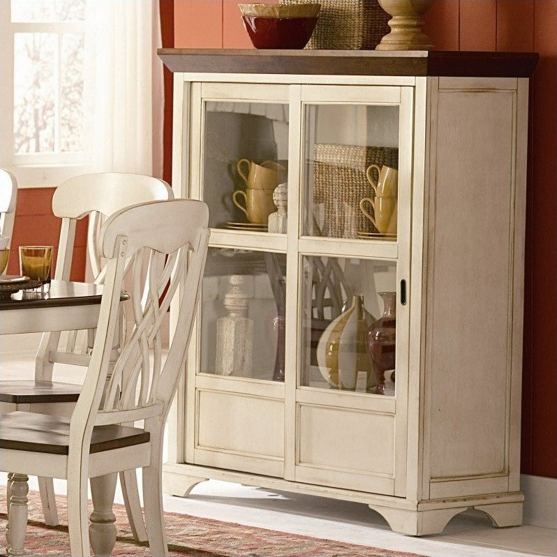 Trent Home Ohana Curio Cabinet in Antique White and Warm Cherry by Homelegance