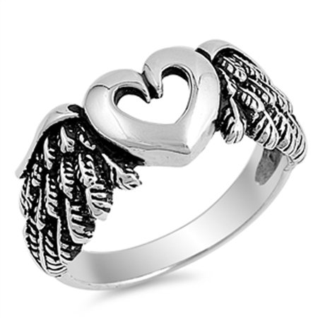 Cutout Heart Angel Wings Biker Ring New .925 Sterling Silver Band Size - New Biker Silver Plated Ring