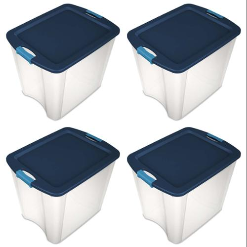 4 Pack) Sterilite 14489604 26 Gallon Latch and Carry Storage Tote Box Containers