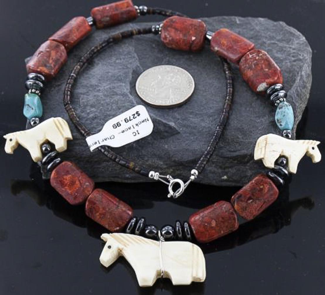 Carved HORSE FETISH $280 Retail Tag Authentic Charlene Little Navajo .925 Sterling Silver CORAL & Turquoise Native... by