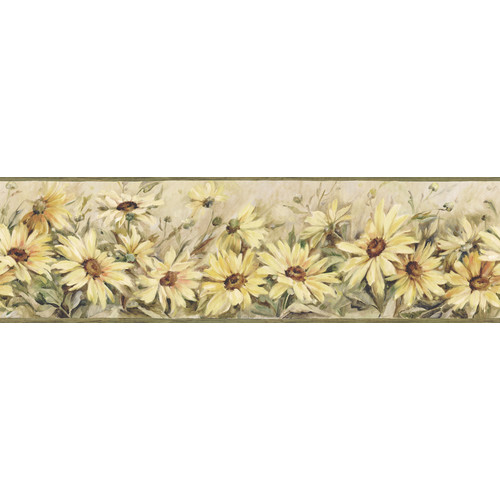 Brewster Home Fashions The Cottage Regal Sunflowers 15' x 6'' Wallpaper Border