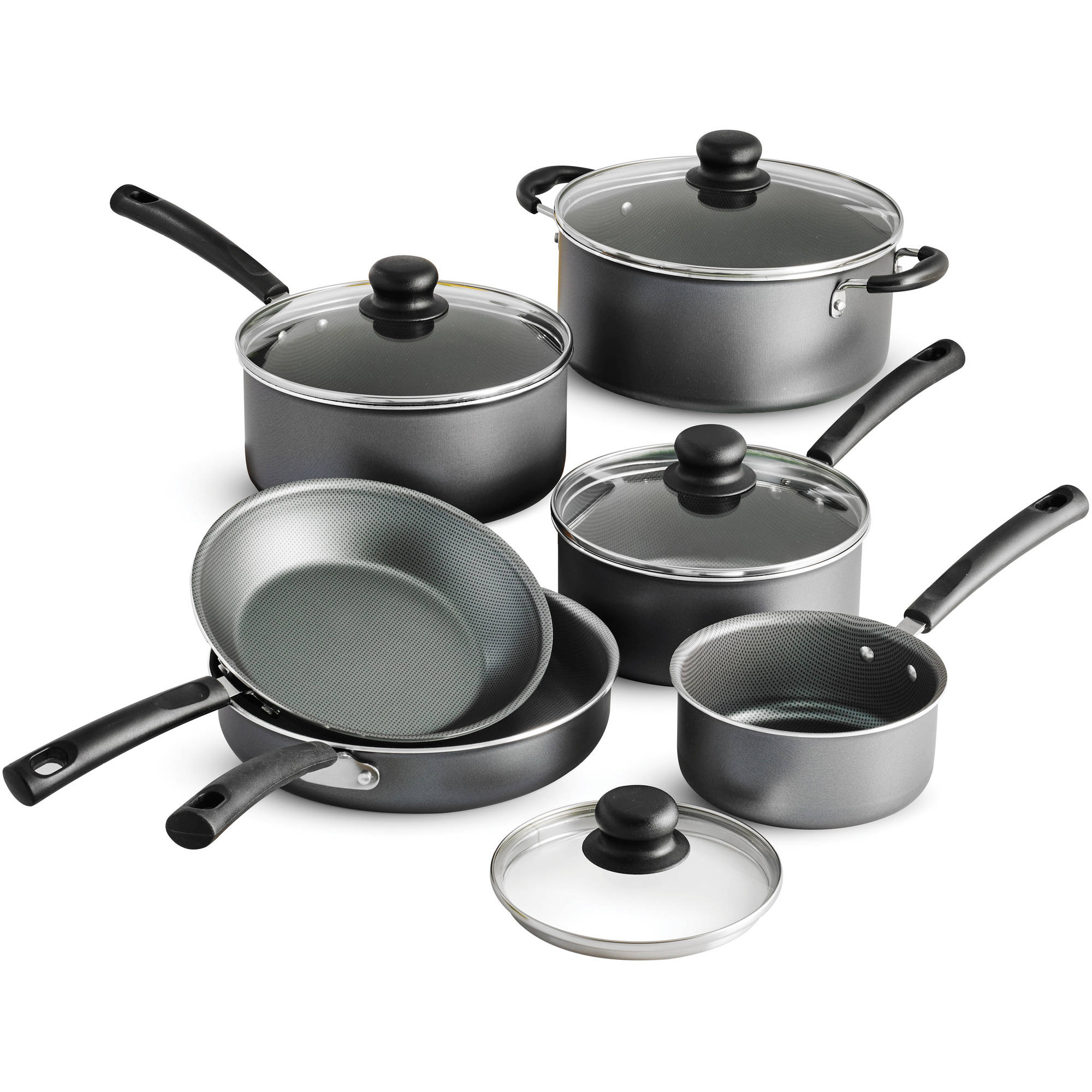 Tramontina PrimaWare 10-Piece Nonstick Cookware Set, Steel Gray